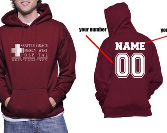 Custom back Seattle Grace Mercy West Hospital on Unisex Hoodie Sweatshirt Color Maroon