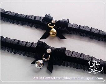 Black Lacy Velvet Bell Collar Choker