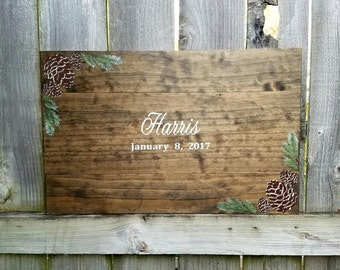 Winter Wedding Guestbook - Custom Guestbook - Fall Wedding Guestbook - Wedding Guestbook - Wooden Guestbook - Rustic Wedding Guestbook