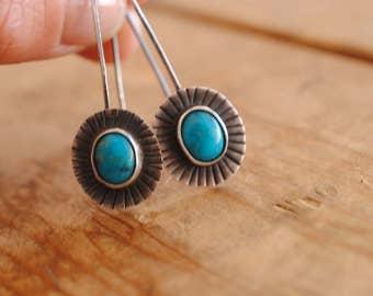 Kingman Turquoise Drop Earrings | Dangle | Sterling Silver