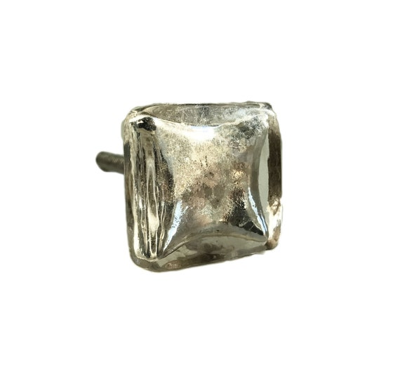Used Kitchen Cabinets Tampa: Silver Square Antique Mercury Glass Knob, Drawer Pull