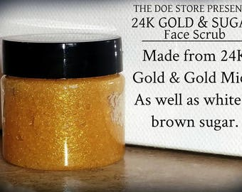 24K Gold and Sugar Face Scrub and Mask Softens and Makes Skin Glow- Product Introduction Sale 1 OZ