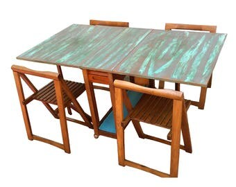 Vintage Mid Century Modern Gateleg Table with Folding Chairs