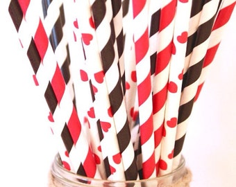 Valentines Day paper straws, queen of hearts paper straws, set of 25, valentines day party straws, casino party, casino straws
