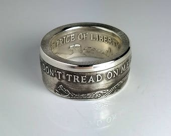 Coin Ring, Don't Tread On Me, Gadsden Flag, Silver Coin Ring, 2A, NRA, Second Amendment, Groomsman Gift, Gift for him