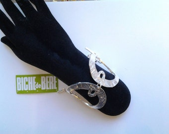 "Cuff Bracelet ""Biche de Bere"", theme 'fish', silver, Tin very modern, timeless, vintage, but nine."