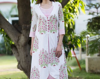 Indian Hand block Printed gathered Cotton Dress, Women's Summer Wear