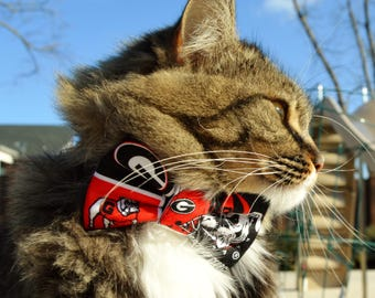Georgia Bulldog cat collar, UGA, dawgs, Georgia bow tie for cat, Georgia bulldog cat bow tie, sports team cat collar, red & black cat collar