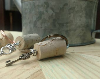 Skeleton key keychain on cork
