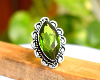 Size 8.5 - Peridot Ring - Sterling Silver Statement Ring - Peridot Silver Ring - jewellery gift for her