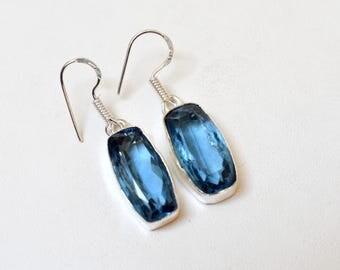 iolite Dangle Earrings - 925 Sterling Silver Earrings - Tanznite Quartz Dangle Earrings - Women Dangle Earrings