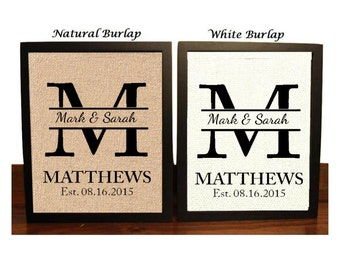 Personalized Wedding Gift for Couple, Bridal Shower Gift, Rustic Wedding Decor, Engagement Gift, Wedding Gift Last Name Establish