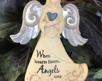 "Miniature Garden Angel Sign - ""When Hearts Listen, Angels Sing"""