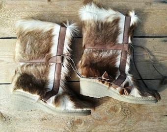 vintage fur boots Shapuro wedges apres ski moon boots goat size eu 37