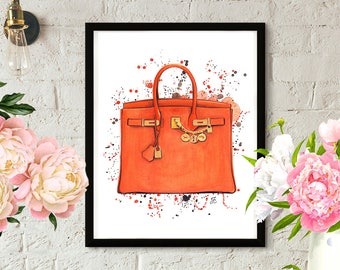 Hermes Birkin, Hermes art, Hermes illustration, Fashion illustration, Hermes painting, Hermes bag, Hermes fashion, Hermes orange bag