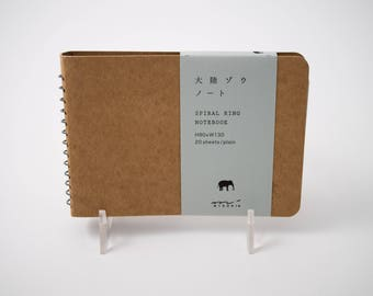"Midori ""Elephant"" gray toned sketchbook, with spiral binding and kraft brown covers, 3.5"" x 5"", 20 sheets"