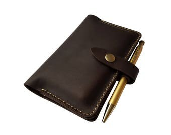 iPhone 5S Leather Wallet Case iPhone 4S Wallet or Mini Pocket Size Notebook with Pen Holder - Dark Brown