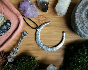 Large silver soldered textured crescent moon pendant ~ adjustable length ~ hippie // boho // vegan // witchy // handmade // choker