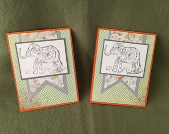 Elephant with Flower Notecards - blank inside