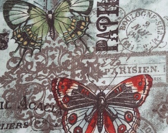Craft Cotton Dressmaking / Quilting Fabric - Vintage French Parisian Butterfly Print in Green and Orange - UK Seller