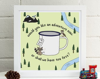 Tea Adventures Print | Peter Pan Print | J M Barrie Quote | Kitchen Print | Tea Quote | Tea Poster | Kitchen Art | Tea Lover Print | Tea Cup