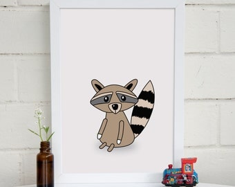 Raccoon Nursery Art | Woodland Animal Print | Nursery Wall Art | Kids Wall Art | Woodland Art | Baby Shower Gift | Kids Room Decor