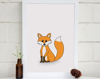 Fox Nursery Art | Woodland Animal Print | Nursery Art | Kids Wall Art |  Fox Art Print | Woodland Art | Baby Shower Gift | Kids Room Decor