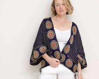 Crochet Sweater / Cardigan Pattern - 2 in 1 Kimono Seamless Convertible Pullover Top for Women - Medium, Large, Plus Sizes - PDF