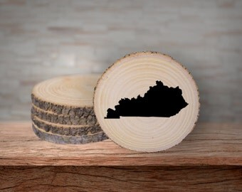 Rustic Kentucky Wood Coaster Set