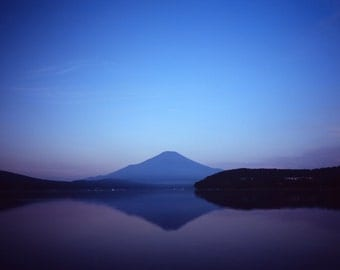 Mount Fuji Photography, Japanese print, Japanese landscape photography, mountain photography, Japanese lake photography, medium format, fuji