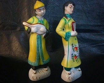 Oriental Couple Figurines, Porcelain Asian Courting Couple, Asian Girl and Boy Figurines, Japanese Couple Statues, Vintage Man and Woman Set