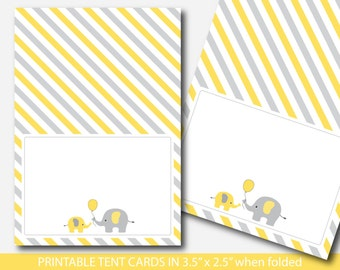 Yellow elephant baby shower food labels, Food tent cards, Place cards, Food tent labels, Place settings, Buffet labels, BE5-10