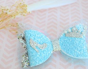 Cinderella bow hair clip, diney princess cinderella bow, glitter Cinderella bow, Cinderella hair clip, Princess Cinderella headband
