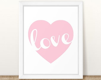 Love Art, Love Word Art, Nursery Art, Pink Nursery Art, Girl Room Art, Girl Wall Art Poster, Baby Girl Pink Heart, Baby Gift, Pink