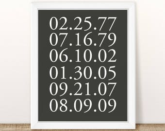 Special Dates Print, What a difference a day makes, Important dates, birth dates print, keepsake gift, custom dates print, anniversary gift