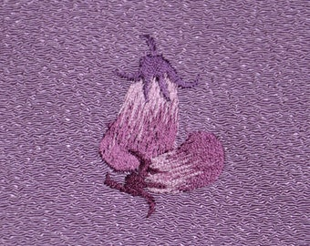 Small size - Japanese furoshiki, wrapping cloth - lilac, embroidered eggplant