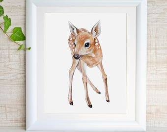 Deer Print Fawn Woodland Nursery Wall Art Forest Baby Animal Print Girl Nursery Art Baby Deer Watercolor Painting Deer Nursery Decor Poster