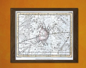 FINE ART REPRODUCTION Celestial Map Zodiac Sign Cancer 1822  Vintage Astrology Retro  Astronomy   Print Astrological