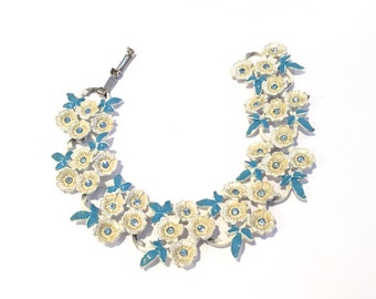 Vintage White And Blue Flowers Bracelet from The 1950s