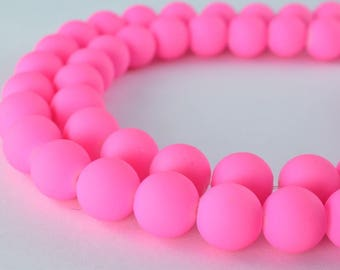 Glass Beads Matte Pink Rubber Over Glass Beads Size 10mm Round For Jewelry Making Item#789222045845