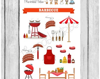 Mini Sticker Sheet - bbq - planner stickers