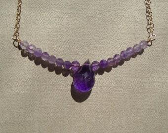 Amethyst Necklace, February Birthstone, Dainty Beaded Bar Necklace, Gemstone Necklace, Gemstone Choker, Amethyst Choker