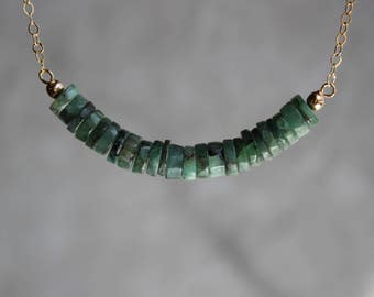Emerald Necklace, All Natural Emerald Necklace, Gemstone Bar Necklace, Emerald Choker, May Birthstone