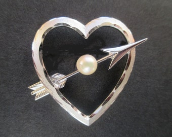 Heart With Arrow Pin * Sterling * Faux Pearl * Gift For Her