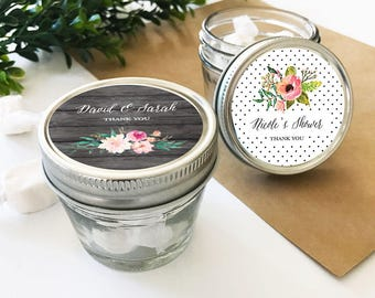 Personalized Floral Garden Small 4oz Mason Jars - 24 pieces