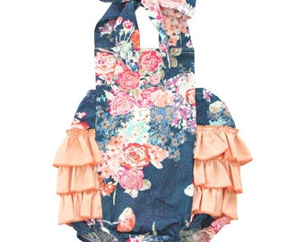 Charleigh Navy Floral Ruffle Bubble Romper | Coral Ruffles | Floral Bubble Romper