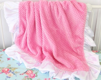 Medium Pink with White Satin Ruffle Minky Baby Girl Blanket | Medium Pink, White, Soft,  Minky Baby Girl Blanket | Stroller Accessery