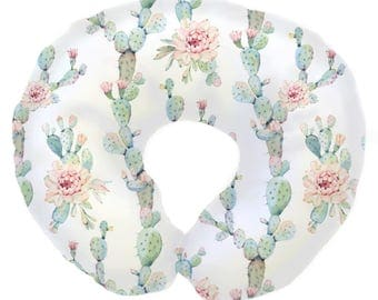 Desert Cactus Blooms  | Floral, Cactus, Blush, Mint Baby Girl Nursing Pillow Cover