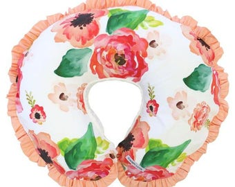Boho Chic Floral  | Floral, Coral, Peach, Pink, Bright, Watercolor Baby Girl Ruffled Nursing Pillow Cover