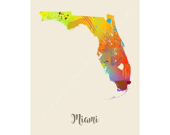 Miami Map City Art Wall Decor Unique Watercolor Map Cool Map Typography Gift State Map Poster